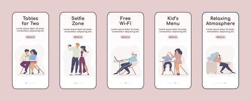 serviços de café da cidade com telas de aplicativos móveis vetor