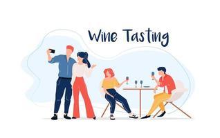 grupo de degustação de vinhos vetor