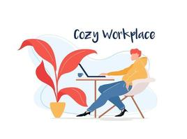 ambiente de trabalho aconchegante vetor