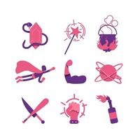 conjunto de objetos de fantasia e quadrinhos vetor