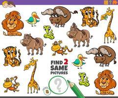 encontrar dois mesmos animais, jogo educacional para crianças vetor