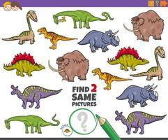 encontrar a mesma tarefa de dois animais pré-históricos para crianças vetor