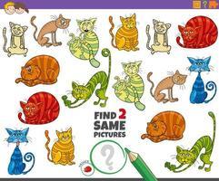encontrar dois mesmos gatos - tarefa educacional para crianças vetor