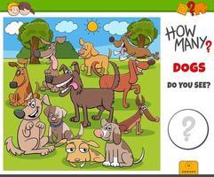 jogo educativo de quantos cachorros para crianças vetor