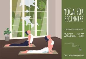 banner de ioga para iniciantes vetor