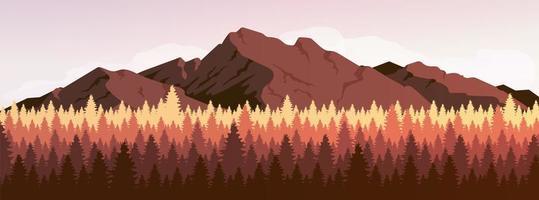 montanha e floresta de coníferas