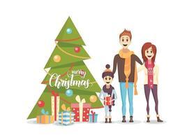 família feliz com árvore de natal decorada vetor