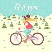 garota em um colete e fones de ouvido isolados em uma bicicleta vetor