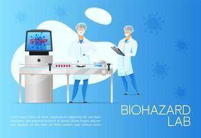banner de laboratório de risco biológico vetor