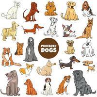 Conjunto grande de personagens de desenhos animados de cães de raça pura