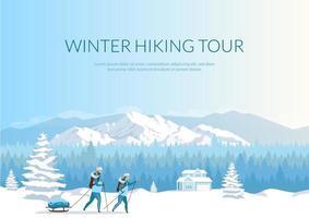 banner de excursão de caminhada de inverno