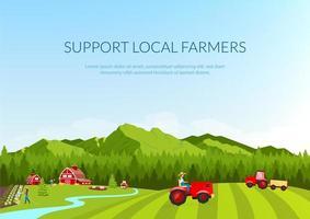 apoie a bandeira dos agricultores locais vetor