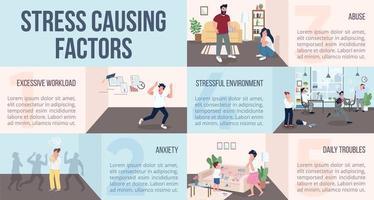 infográfico de fatores causadores de estresse vetor