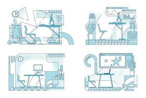 designs de interiores de escritórios modernos vetor