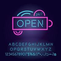 aberto 24 horas luz neon vetor