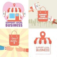 apoiar conjunto de campanha de negócios locais vetor