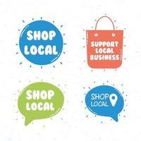 suporte conjunto de ícones de campanha de negócios locais vetor