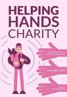 pôster de caridade ajudando mãos