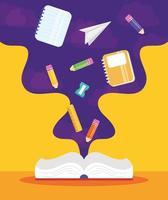 cartaz de volta às aulas com livro