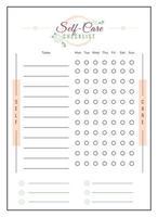 lista de verificação de autocuidado design minimalista da página do planejador