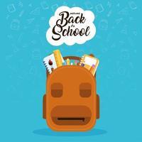volta ao cartaz da escola com mochila e suprimentos vetor