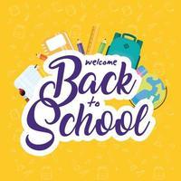 cartaz de volta às aulas com materiais escolares