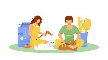 cães que cuidam de animais de estimação vetor