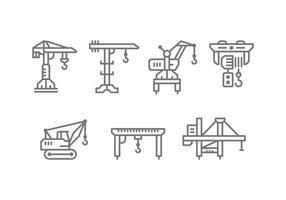 Guindaste da máquina de elevação e ícones do conjunto do guincho