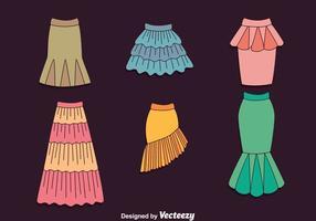 Vetor de coleção de saia de folhos