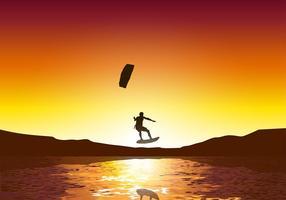 vetor de pôr do sol do kitesurf