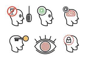 Ícones de vetor de hipnose