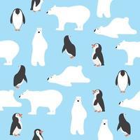 ursos polares fofos com padrão sem emenda de pinguins vetor