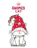 desenho de gato gnomo fofo com luzes de natal vetor