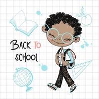 menino bonito de pele escura com mochila escolar vetor