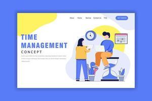 modelo de página de destino com conceito de gerenciamento de tempo vetor