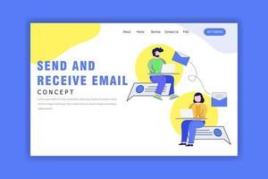template de landing page com conceito de enviar e receber e-mail vetor
