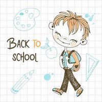 menino ruivo fofo com mochila escolar vetor