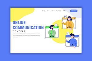 conceito de design plano de comunicação online vetor