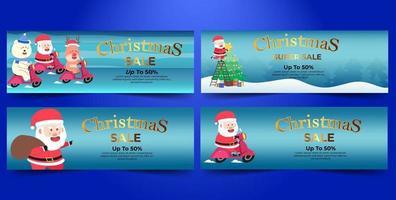 pacote de super venda de banner de natal com fundo azul vetor