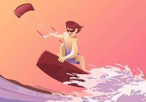 Divertimento do Kitesurfing no vetor da praia