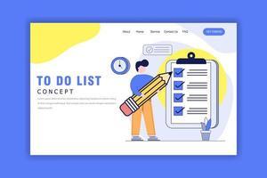 conceito de design plano de lista de tarefas vetor