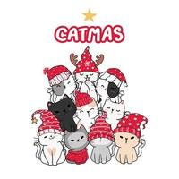amigos gatos fofos em forma de árvore de natal