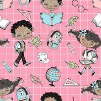 tema escolar com crianças negras e acessórios escolares. vetor