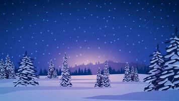 paisagem de inverno com pinheiros cobertos de neve vetor