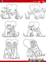 casais de cães apaixonados desenhos animados para colorir página vetor