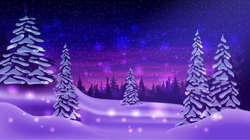 paisagem de inverno com pinheiros cobertos de neve