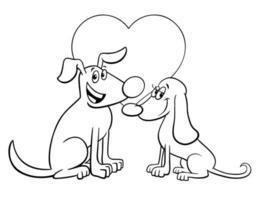 cartão de dia dos namorados com cães apaixonados livro de cores vetor