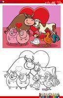 página do livro para colorir de desenhos animados casais de animais vetor