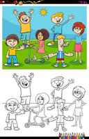 página do livro de cores do grupo de personagens de crianças e adolescentes vetor