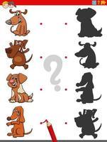 jogo de sombra com personagens engraçados de cães vetor
